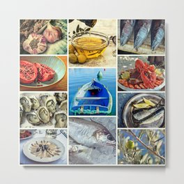 Seafood Collage Cafe Kitchen Decor Metal Print