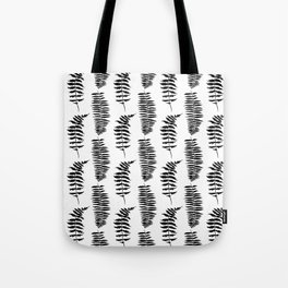 Hand painted watercolor black white fern floral leaves Tote Bag