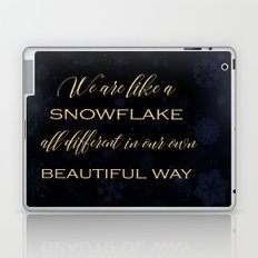 We are like a snowflake - gold glitter Typography on dark backround Laptop & iPad Skin