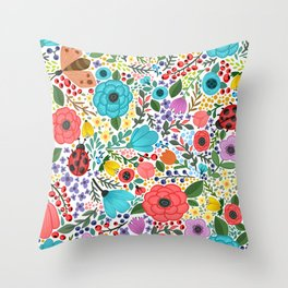 Colorful Vintage Spring Flowers Throw Pillow