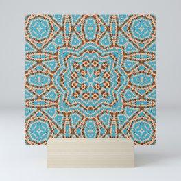 Brown blue kaleidoscope . Mini Art Print