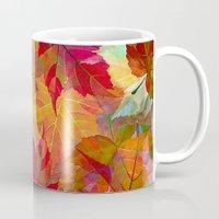 andreas preis Mugs featuring Autumn Leaves by Klara Acel