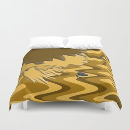 Shades of Brown Waves Duvet Cover