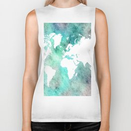 Design 62 World Map Turquoise Aqua Biker Tank