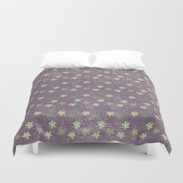 Vintage mauve purple green abstract leaves pattern Duvet Cover