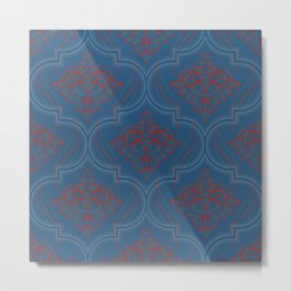 Moroccan pattern: Blue and coral design Metal Print