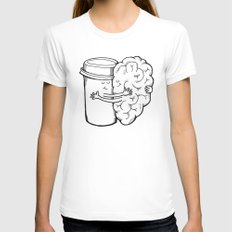 Coffee: When Your Brain Needs a Hug White Womens Fitted Tee LARGE