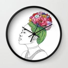 Flowered Hair Girl 3 Wall Clock