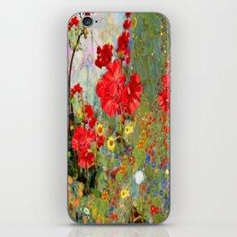 Red Geraniums in Spring Garden Landscape Painting iPhone Skin