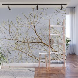 Blooming Willow Tree In Spring. Minimalist Composition Wall Mural