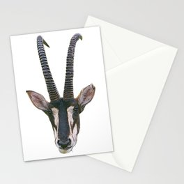 Sable Face Mammal Long Sharp Horns Lawn Eater Stationery Cards