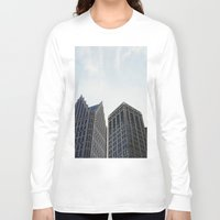 detroit Long Sleeve T-shirts featuring Downtown Detroit by Michelle & Chris Gerard
