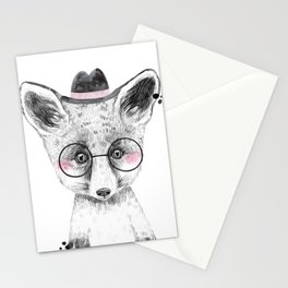 Fox - black and white with hat and glasses - large Stationery Cards