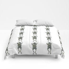 green lichen leaping frog silhouette Comforters