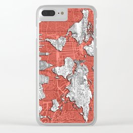 world map city skyline 9 Clear iPhone Case