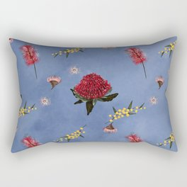 Blue Waratah Rectangular Pillow