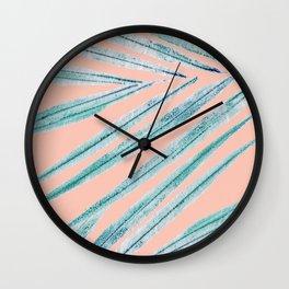 palm leaf coral Wall Clock