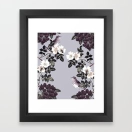 Birds and the Bees Blue Gray Framed Art Print