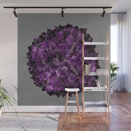 PURPLE AMETHYST CRYSTALS GREY ART Wall Mural