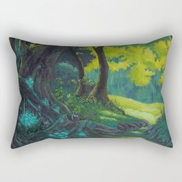 Magic forest glade art bright colors Rectangular Pillow
