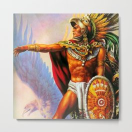Caballero Aztec Warrior and Eagle Animal Spirit by Jesus Helguera Metal Print