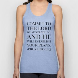 Proverbs 16:3 Bible Quote Unisex Tank Top