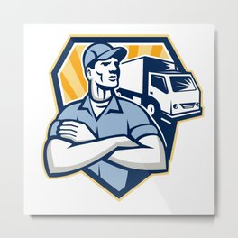 Removal Man Moving Delivery Van Crest Retro Metal Print