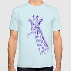 giraffe Mens Fitted Tee SMALL Light Blue