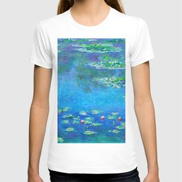 Claude Monet Water Lilies Painting French Impressionism Art Print Waterlilies Painting Flower Garden T-shirt