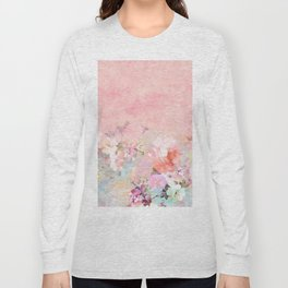 Modern blush watercolor ombre floral watercolor pattern Long Sleeve T-shirt