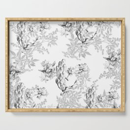 PEACOCK LILY TREE AND LEAF TOILE GRAY AND WHITE PATTERN Serving Tray