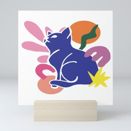 Matisse inspired Blue Cat Mini Art Print