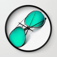 sunglasses Wall Clocks featuring SUNGLASSES by Ylenia Pizzetti