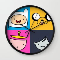 finn and jake Wall Clocks featuring Finn & Jake by fungopolly