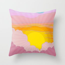 Sixties Inspired Psychedelic Sunrise Surprise Throw Pillow