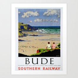 retro Bude travel poster Art Print