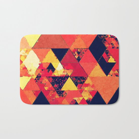 Pure fire- Red yellow black abstract Triangle pattern- Watercolor Illustration Bath Mat