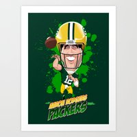 packers Art Prints featuring Aaron Rodgers by Greene Graphics