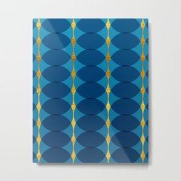 Circular Geometric Vintage Motif Pattern in Gold, Azure and Persian  Metal Print