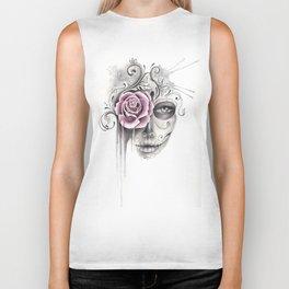 Rose Sugar Skull Biker Tank