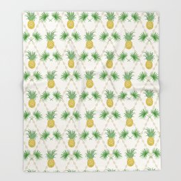 Exotic tropical  pattern with palm branches and pineapples . Throw Blanket