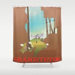 Grand Teton National Park Wyoming Map Shower Curtain