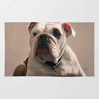 british Area & Throw Rugs featuring British Bulldog by Mel Hampson