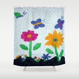 Butterflies and spring flowers bubble art Shower Curtain