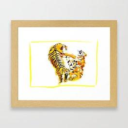 Tiger Fight Framed Art Print