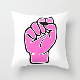 Pink female fist Throw Pillow