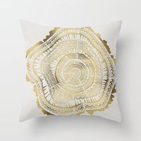 bianca green Throw Pillows featuring Gold Tree Rings by Cat Coquillette