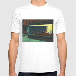 NIGHTHAWKS downtown diner late at night iconic cityscape oil on canvas painting by Edward Hopper T-shirt