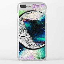 Sugar Skull Moon Art Clear iPhone Case