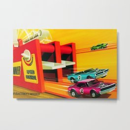 Vintage Hot Wheels Redline Dual-Lane Rod Runner Racing Poster Trade Print Metal Print